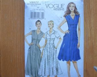 Vogue Misses' Dress Pattern 8577 Sizes 16-18-20-22