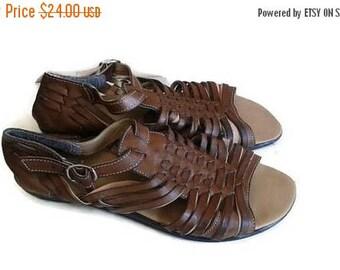 SALE Brown leather strappy sandals gladiator wedges size 9 vintage