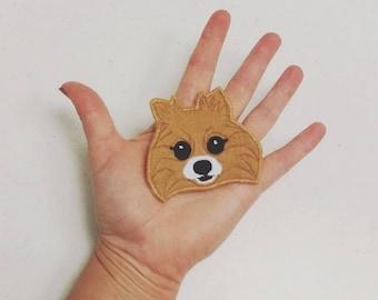 Your Pomeranian Handmade Portrait Patch. Textile Art.