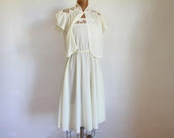 1970s Slip Dress Set / Vintage 70s Ivory and Lace Midi Two Piece / XS / Small