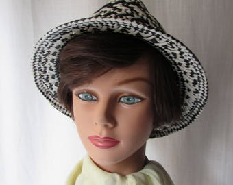 Hat Ann Taylor Fedora Summer black and white paper fabric