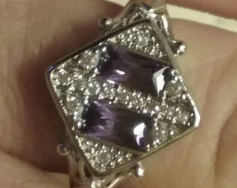 Vintage Art Deco Style Ring, Amethyst Birthstone Ring, Anniversary Ring, Me and Thee Ring, Moi et Toi Anniversary Ring