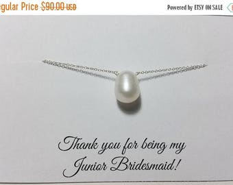 ON-SALE SET of Five - Single Freshwater Pearl and Sterling Silver Necklace - Bridesmaid Gift, Wedding Jewelry, Birthday Gift, June Birthston