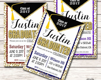 College Graduate Invitation, Graduation Announcement,, High School or College DIY Printable