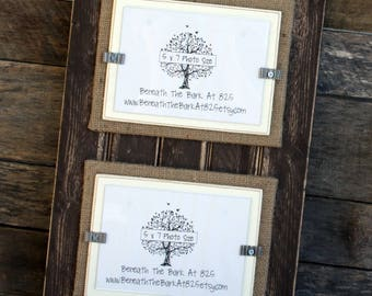 Picture Frame - Distressed Wood - Holds 2 - 5x7 Photos - Chocolate Brown, Burlap & White