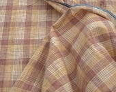 """2 1/2 Yards of 45"""" Vintage Cotton Fabric. Checked Design. Brown, Creme, Beige and Straw Tones. Sewing, Apparel, Shirts, Crafts. Item 4223F"""