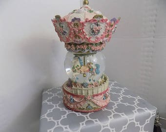 Carousel  globe music box pastels