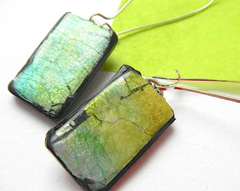 Green and Gold Earrings, Dichroic Glass Look, Polymer Clay Jewellery, Faux Dichroic Earrings, Long Elegant Earrings, Lightweight Jewellery