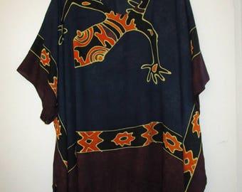 Lizard Rayon Artsy Kimono Cafton Cover Up SZ 2X 3X 4X Plus Size Clothing