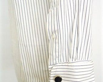 Vintage French Cuffs Dress Shirt / Lands' End white & navy blue pin stripe pinpoint oxford cotton cuff links shirt / men's medium-large