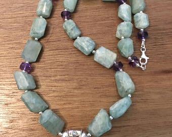 Aquamarine Rough and Amethyst Slice Pendant Necklace