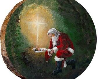 Santa Kneeling at Manger - DX134