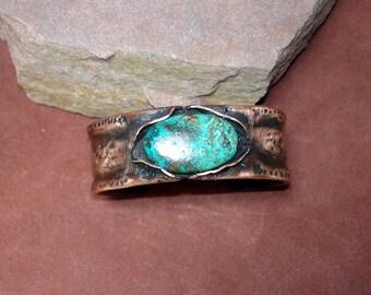 copper cuff, unisex cuff, textured cuff, chrysacolla stone,