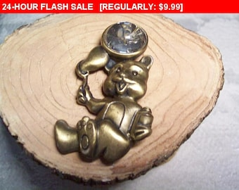 Teddy bear pin brooch, vintage push pin brooch