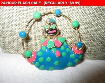 Clown brooch, vintage brooch