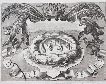 MoonsCuriousItems-Antique  Engraving 1658 -A Family Crest -Crown, Fronds,Creature in Repose- Copper Plate Engraving