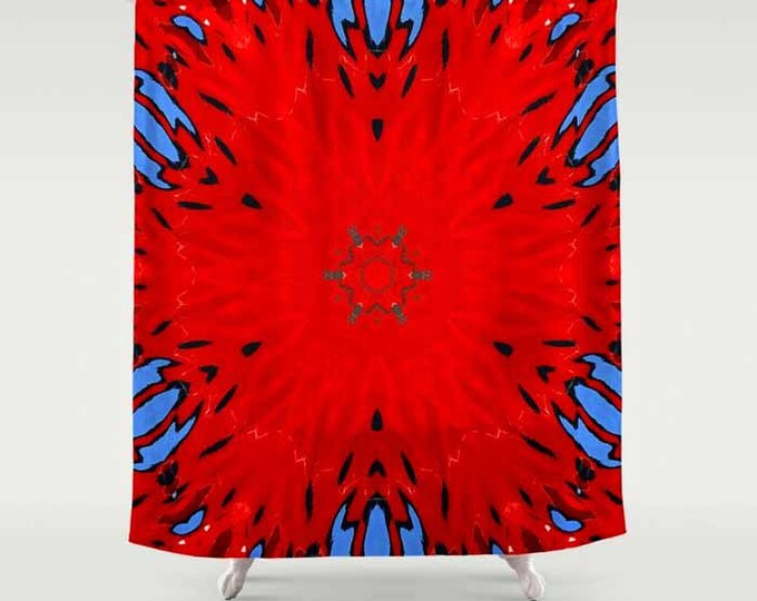 Shower Curtain, Abstract Shower Curtain, Bath Curtain, Bath Shower Curtain, Fire Water Kaleidoscope, Kaleidoscope, Digital Photography