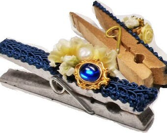 Vintage Embellished Decor Clips Blue Gems PaleYellow Floral spray on Gold and SIlver Clothes Clips