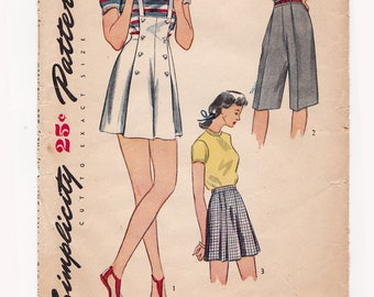 """1940s Simplicity 1322 Vintage Sewing Pattern, Tap Shorts - Suspenders - Swing Shorts, Size 15, Waist 27"""", Complete"""