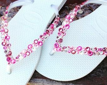 Custom Havaianas Slim Flip Flops White w/ Swarovski Crystal Rhinestone Beach Sea Glass Slippers Wedding Shoes Bling Pink Rose Jewels Bridal