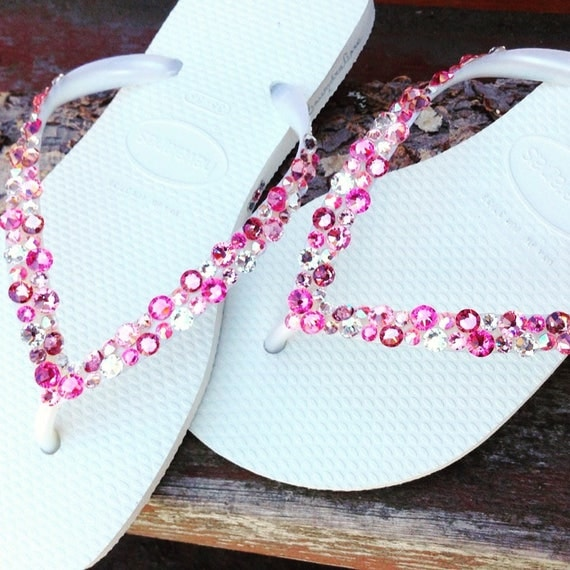 Pink Rose Crystal Havaianas Slim Flip Flops White w/ Swarovski Rhinestone Beach Sea Glass Slippers Wedding Shoes Bling Jewels Bridal
