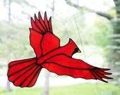 Stained Glass Cardinal Bird Large Suncatcher, Glass Art, Bird Sun Catcher, Wildlife Art, Bird Lovers Gift