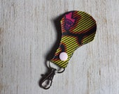 African Ankara print faux leather keyring keychain keycharm - green pink - unique original design - Fathers day - wedding favour - gift idea