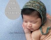 "PDF Knit Pattern #0083 The ""Kieran"" Knit Bonnet Newborn Knit Pattern PDF Tutorial Beginner Instruction Newborn Photography Prop Dk Yarn"