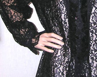 Vintage Black Lace Blouse . Lace Shirt . Black Blouse . Ruffled Blouse .