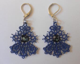 Small navy blue lace earrings and steel stainless