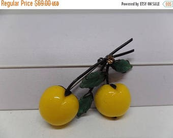 ON SALE Austria Signed Yellow Double Glass Cherry Brooch!