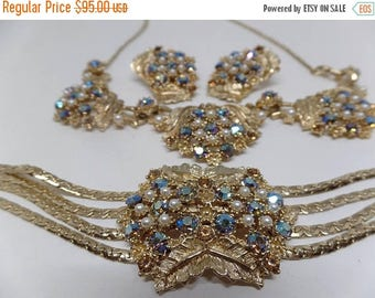 ON SALE Gorgeous Vintage AB Crystal and Pearl Necklace, Bracelet, and Earring Set!