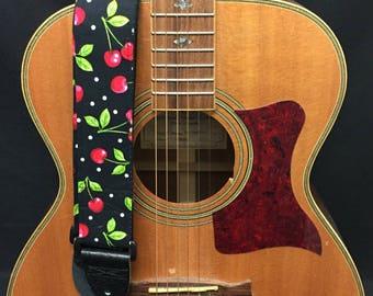 Cherry Handmade Guitar Strap Music Accessories Skulls Gothic