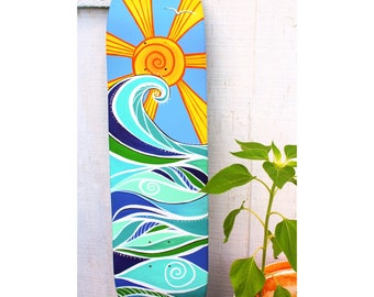 surf art skate deck - hand-painted skateboard - coastal decor - skate art - beach art - painted skate deck - wave painting - beach house art