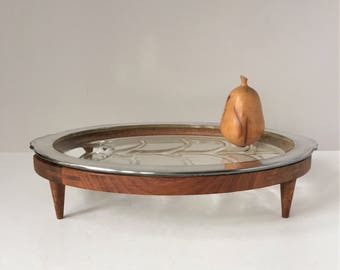 Tree of Life Platter on Stand, Fire King Oven Platter, Vintage Oval Silver Rim Platter, American Walnut Stand, 1960s Mid Century Serveware