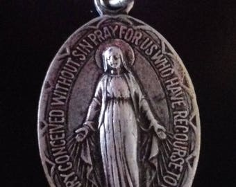 Antique   Religious  medal Our Lady of Rue du bac   Miraculous medal Old Pendant Charm Vintage Jewelry