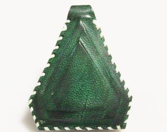 Green African Triangle Leather Pendant, Unique Jewelry Supplies, Mali Tuareg Pendant (AL269)