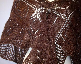 hand knitted Brown brilance shawl