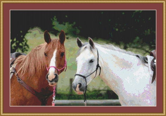 Horses Chestnut And Grey Cross Stitch Pattern /Digital PDF Files /Instant downloadable