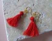 Stylish red tassel earrings/ gold earrings/ unique jewellery/ statement earrings