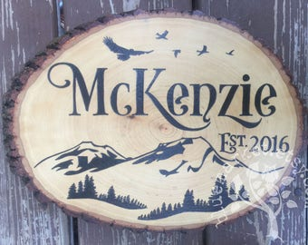 Mountains Birds and Forest Family Name Wood Sign housewarming or wedding gift