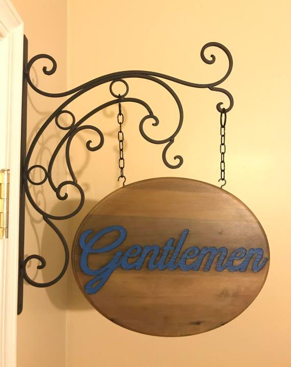 Restroom Bathroom Ladies Gentlemen Wood Hanging Sign Double