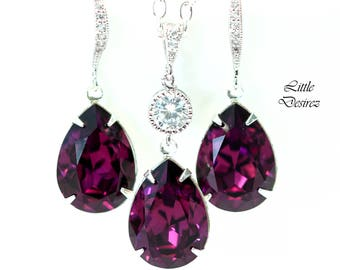 Purple Earrings Necklace Set Amethyst Jewelry Set Swarovski Crystal Bridesmaid Gift Wedding Jewelry Plum Earrings Sterling Silver AM31JS