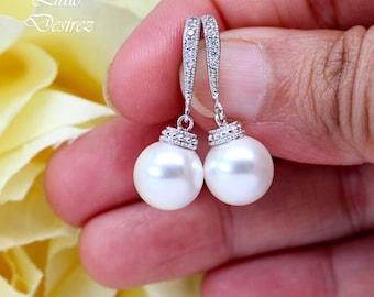 White Pearl Earrings Ivory Pearl Earrings Swarovski White Pearls Bridal Pearl Earrings Bridesmaid Pearl Earrings Silver CZ Earrings P44H