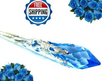 Blue Necklace Bridal Necklace Bridesmaid Jewelry Swarovski Sapphire Crystal Blue Pendant Long Pendant WeddingJewelry Statement Necklace SP36