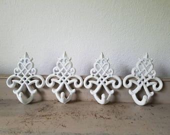 4 White Ornate Cast Metal  Hook Heavy Duty Hooks