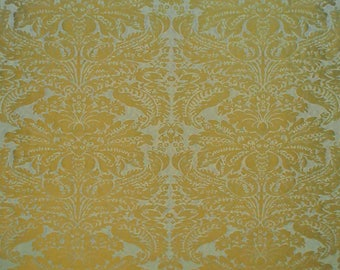 CLARENCE HOUSE LOTUS Medallions Silk Damask Fabric 10 Yards Azure