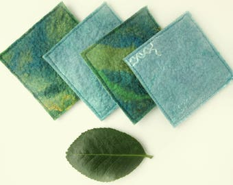 Blue and Green Cup Coasters - Woodland Wool Felt Mug Coasters - Fabric Coasters