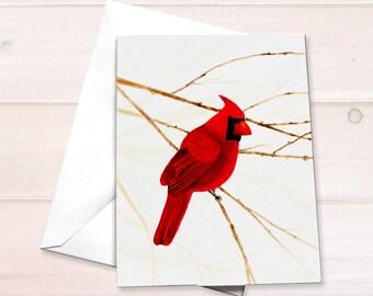 Cardinal Christmas cards, watercolor cardinal stationery set, northern cardinal notecard set, bird lover notecard, holiday hostess gift