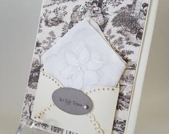 Vintage Appliqued Hankie Card Friend Autumn Wedding Hankie Happy Tears Congratulations Bridal Accessory Keepsake Handkerchief